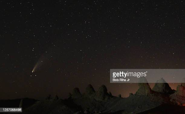 Comet NEOWISE, known as C/2020 F3 appears above the Trona Pinnacles, July 18, 2020 near Death Valley, California.
