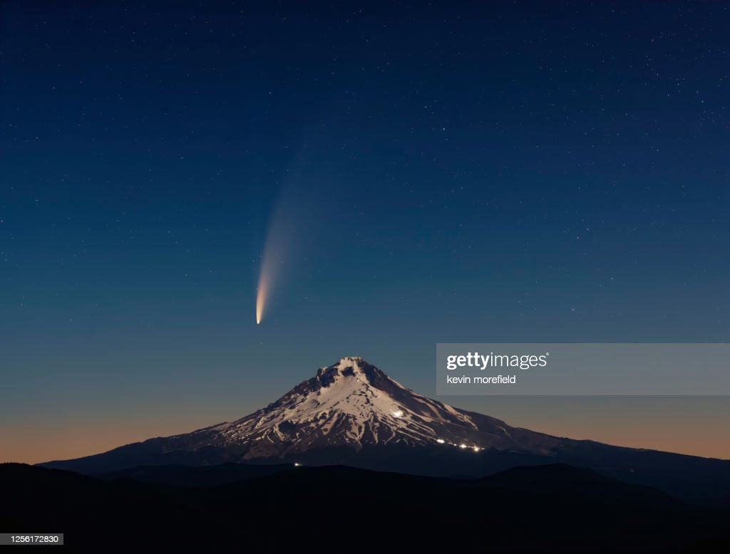 Comet Neowise over Mount Hood : Stock Photo