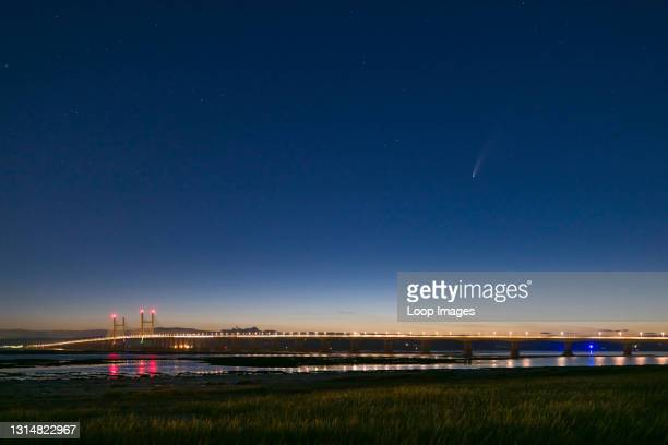 Comet Neowise over the Prince of Wales Bridge in the Severn Estuary July 2020.