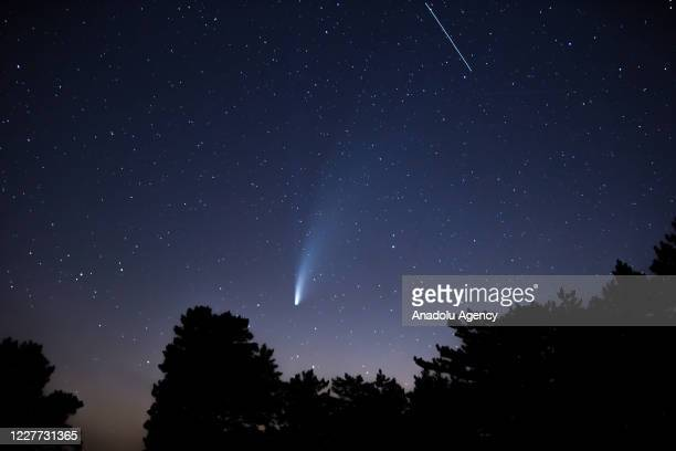 """Comet Neowise, the """"C / 2020 F3 Neowise comet"""" is observed over the sky at Mount Turkmen with an altitude of 1820, Kutahya, Turkey on July 22, 2020...."""