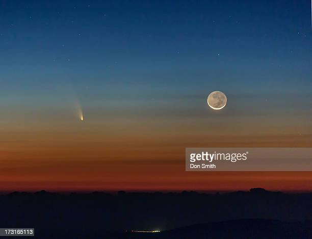 comet pan-starrs and crescent moon - don smith stock photos and pictures