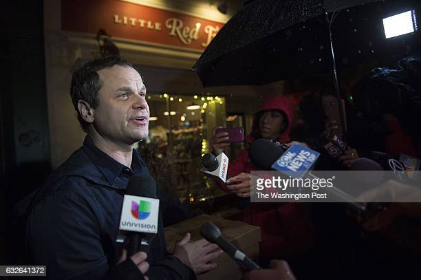 DECEMBER 6 Comet Ping Pong owner James Alefantis makes a brief statement outside his restaurant in Washington DC on Tuesday December 6 2016 The...