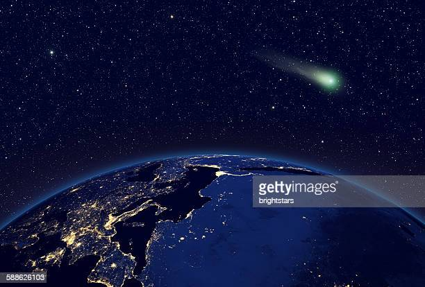 Comet visible over Europe and Africa from space