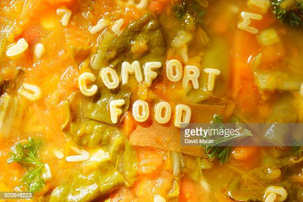 CU of 'comfort food' in alphabet soup