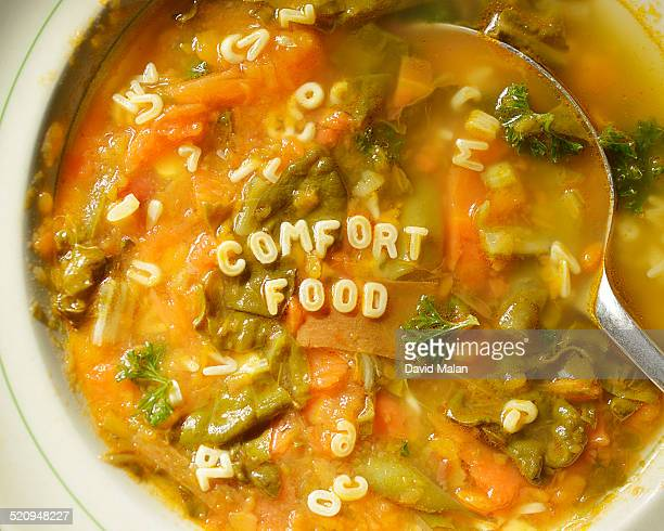 'Comfort food' spelt out in alphabet soup