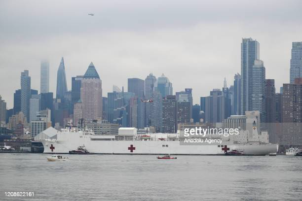 Comfort the hospital ship arrives in New York City United States on March 30 2020