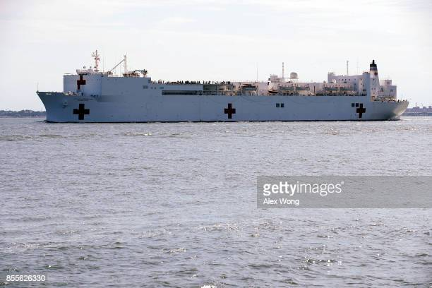 Comfort the naval hospital ship is seen leaving the harbor September 29 2017 in Hampton Virginia The USNS Comfort is being deployed to support relief...