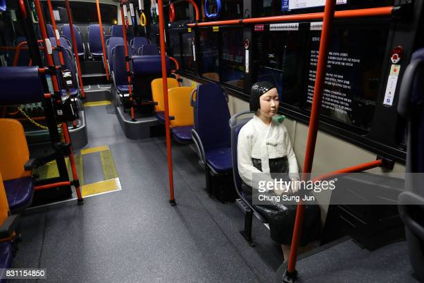 Comfort Woman statue installed in a bus ahead of the 72nd Independence Day on August 14, 2017 in Seoul, South Korea. The statue was originally...