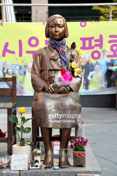 Comfort Woman' statue is seen in front of Japanese Embassy on the day of South Korea's new President Moon Jae-In inauguration on May 10, 2017 in...