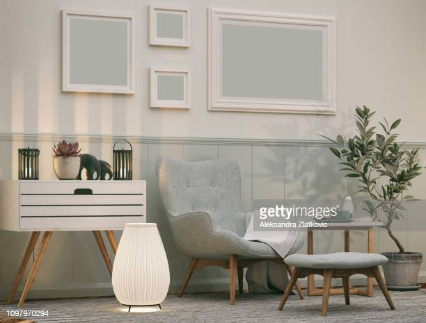 comfortable armchair - carpet decor stock photos and pictures