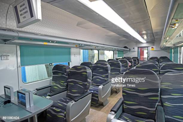 Comfortable bucket seats inside new Anubhuti coach which has arrived at the Mumbai Central coach depot on December 12 2017 in Mumbai India The...