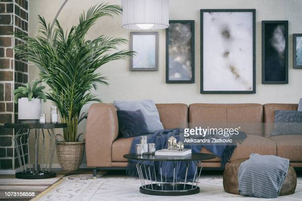comfortable sofa in domestic living room - marrone foto e immagini stock