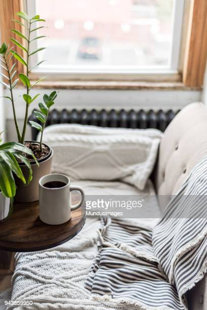 A comfortable sofa with coffee in a cozy home