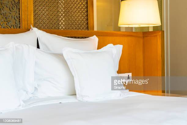 comfortable white pillow bed decoration bedroom