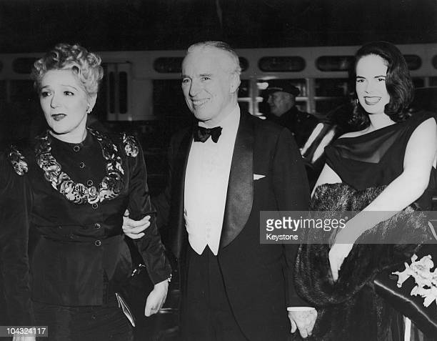 Comic actor Charlie Chaplin and his wife Oona O'Neill with Canadian actress Mary Pickford at the premiere of Chaplin's film 'Monsieur Verdoux' at the...