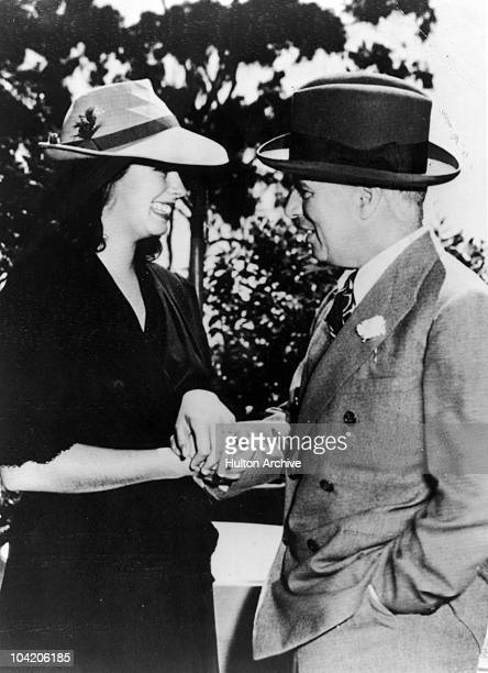 Comic actor Charlie Chaplin and Oona O'Neill at their wedding Carpinteria California 16th June 1943