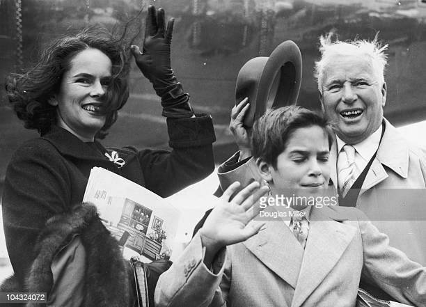 Comic actor Charlie Chaplin with his wife Oona O'Neill and their son Michael at London Airport 9th September 1957 They are in London for the premiere...