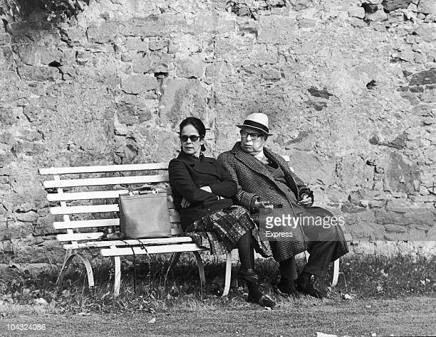 Comic actor Charlie Chaplin with his wife Oona O'Neill during a holiday in Scotland 21st July 1971