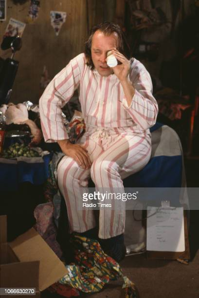 Comic actor Rik Mayall in a scene from episode 'Holy' of the BBC television sitcom 'Bottom' July 10th 1992