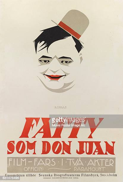 Comic actor Roscoe 'Fatty' Arbuckle appears on a Swedish poster by Eric Rohman for the 1921 US comedy film 'Crazy to Marry' here titled 'Fatty Som...