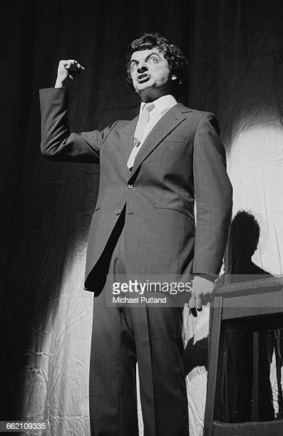 Comic actor Rowan Atkinson performing in 'The Secret Policeman's Other Ball', at the Drury Lane theatre, London, 9th September 1981. The show is a...