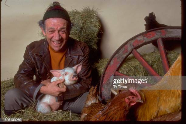Comic actor Sid James in character as Sid Turner in sitcom Two In Clover, posed with posed with chickens and a piglet, circa 1969.