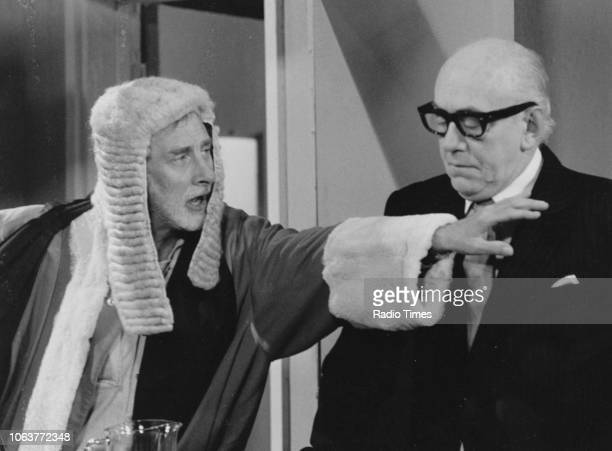 Comic actor Spike Milligan dressed as a judge, in a sketch for the television show 'Q9', September 28th 1979.