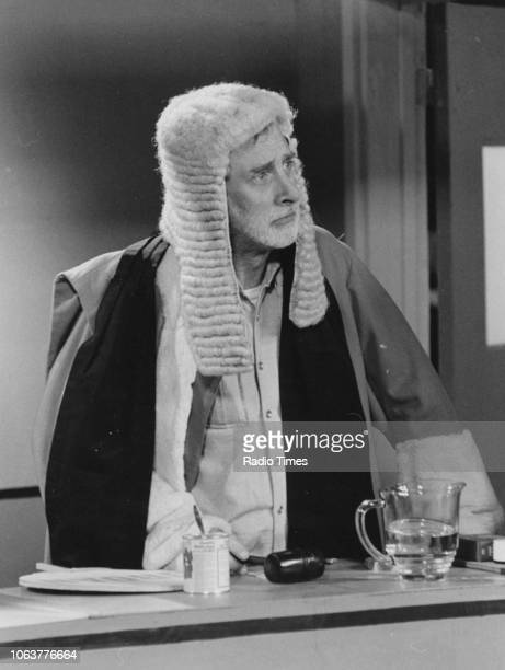 Comic actor Spike Milligan dressed as a judge in a sketch for the television show 'Q9' September 28th 1979