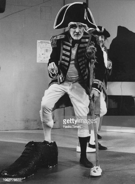 Comic actor Spike Milligan dressed as a pirate with one huge foot, as part of a sketch for the television show 'Q9', October 5th 1979.