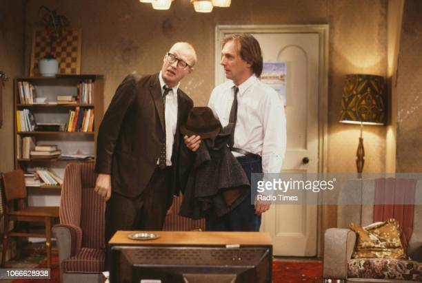 Comic actors Adrian Edmondson and Rik Mayall in a scene from episode 'Contest' of the BBC television sitcom 'Bottom' June 24th 1990