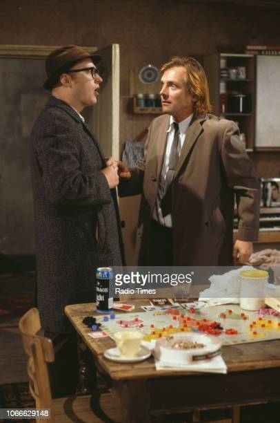 Comic actors Adrian Edmondson and Rik Mayall in a scene from episode 'Culture' of the BBC television sitcom 'Bottom', May 17th 1992.