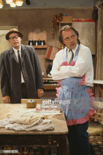 Comic actors Adrian Edmondson and Rik Mayall in a scene from episode 'Culture' of the BBC television sitcom 'Bottom' May 17th 1992