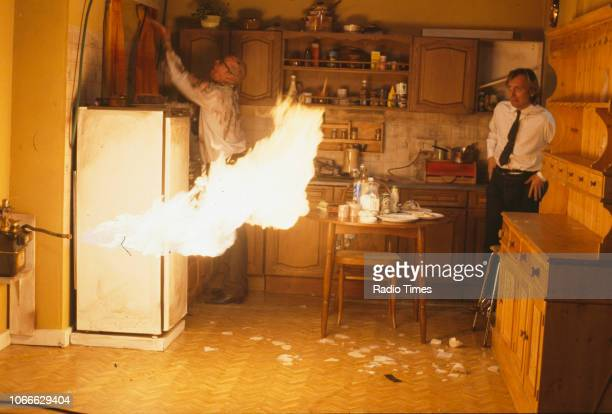 Comic actors Adrian Edmondson and Rik Mayall in a scene from episode 'Gas' of the BBC television sitcom 'Bottom', July 4th 1991.