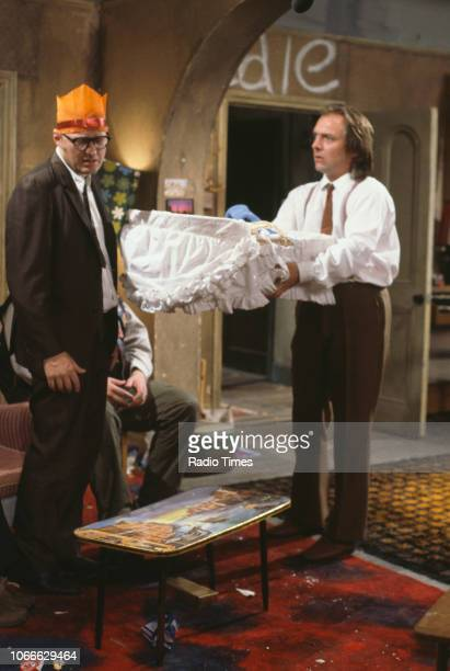 Comic actors Adrian Edmondson and Rik Mayall in a scene from episode 'Holy' of the BBC television sitcom 'Bottom' July 10th 1992