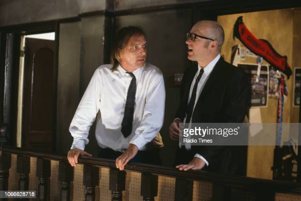 Comic actors Adrian Edmondson and Rik Mayall in scene from episode 'Burglary' of the BBC television sitcom 'Bottom' May 25th 1992