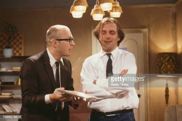 Comic actors Adrian Edmondson and Rik Mayall in scene from episode 'Contest' of the BBC television sitcom 'Bottom', June 24th 1990.