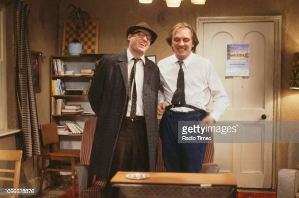 Comic actors Adrian Edmondson and Rik Mayall in scene from episode 'Contest' of the BBC television sitcom 'Bottom' June 24th 1990