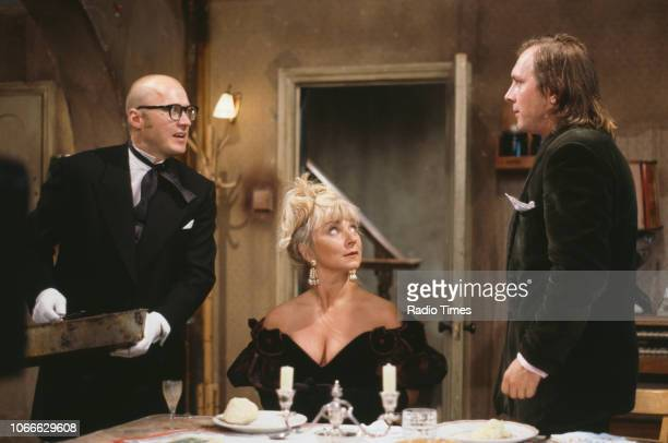 Comic actors Adrian Edmondson, Helen Lederer and Rik Mayall in a scene from episode 'Digger' of the BBC television sitcom 'Bottom', July 17th 1992.