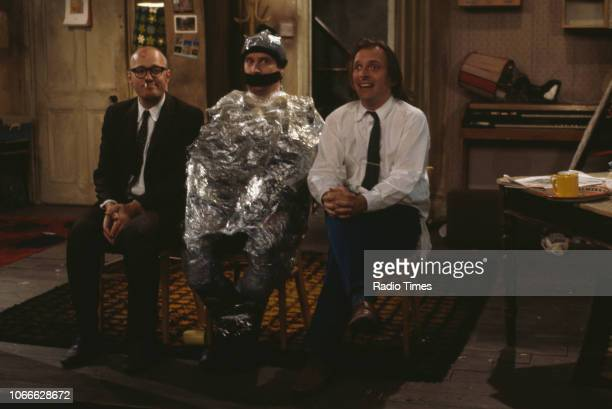 Comic actors Adrian Edmondson, Paul Bradley and Rik Mayall in scene from episode 'Burglary' of the BBC television sitcom 'Bottom', May 25th 1992.