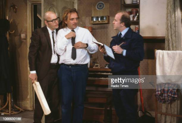 Comic actors Adrian Edmondson, Rik Mayall and Mark Lambert in a scene from episode 'Gas' of the BBC television sitcom 'Bottom', July 5th 1991.
