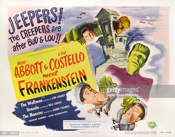 Comic actors Bud Abbott and Lou Costello appear on a lobby card for the 1948 comedy horror film 'Abbott and Costello Meet Frankenstein' produced by...