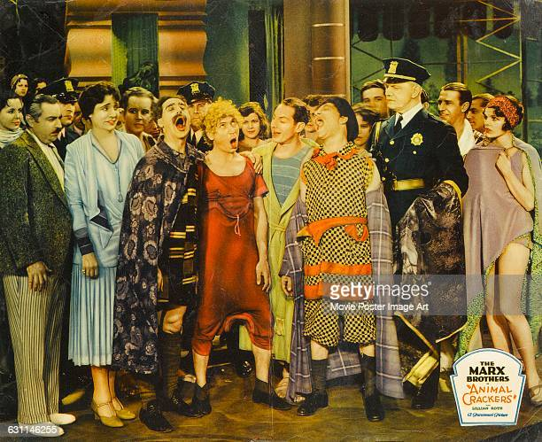 Comic actors Chico Harpo Zeppo and Groucho Marx star with Margaret Dumont in the 1930 Marx Brothers comedy 'Animal Crackers' directed by Victor...
