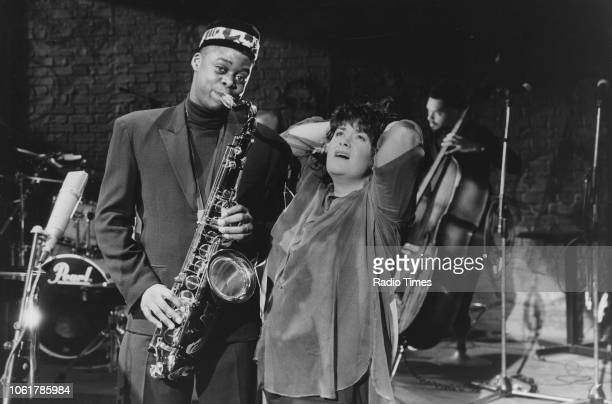 Comic actors Courtney Pine and Dawn French in a sketch from the television comedy show 'French and Saunders' January 6th 1990