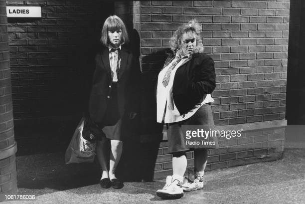 Comic actors Dawn French and Jennifer Saunders in a sketch from the television comedy show 'French and Saunders' January 6th 1990