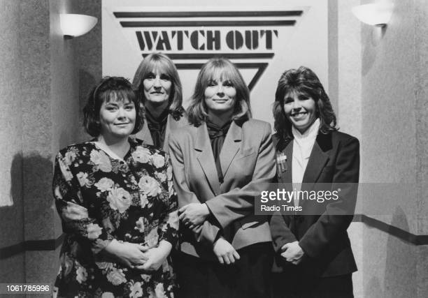 Comic actors Dawn French and Jennifer Saunders with television presenters Lynn Faulds Wood and Maggie Philbin in a sketch from the television comedy...
