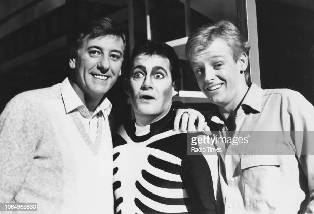 Comic actors Dustin Gee Roy Jay and Les Dennis in a scene from the comedy sketch series 'The Laughter Show' February 19th 1984