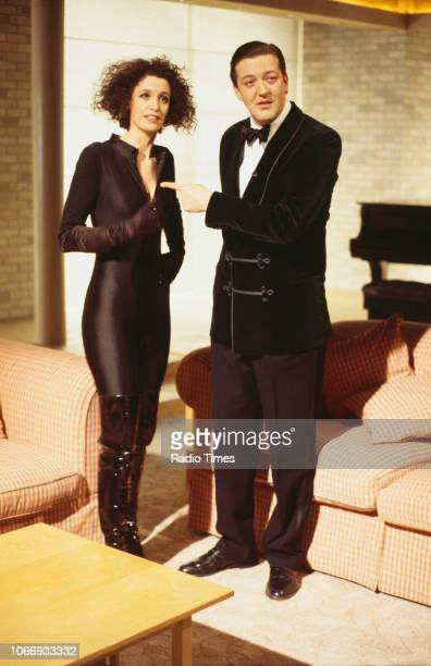 Comic actors Fiona Gillies and Stephen Fry in a sketch from the BBC television series 'A Bit of Fry and Laurie', March 22nd 1994.