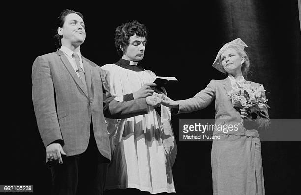 Comic actors Griff Rhys Jones Rowan Atkinson and Pamela Stephenson performing the 'Divorce Service' sketch in 'The Secret Policeman's Other Ball' at...