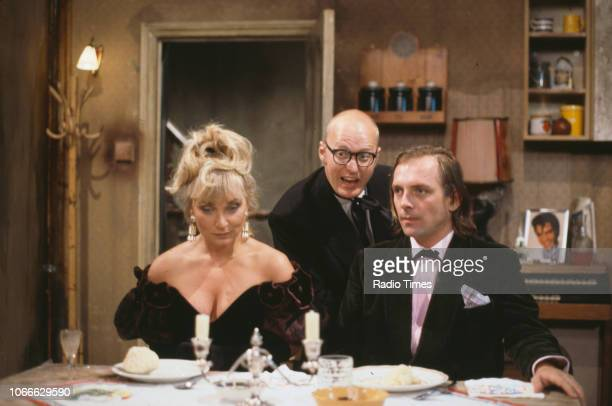 Comic actors Helen Lederer, Adrian Edmondson and Rik Mayall in a scene from episode 'Digger' of the BBC television sitcom 'Bottom', July 17th 1992.