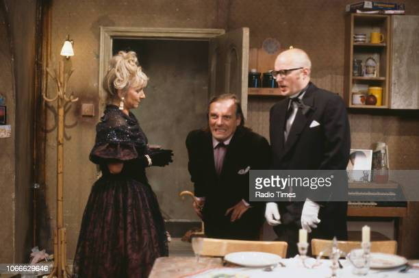 Comic actors Helen Lederer, Rik Mayall and Adrian Edmondson in a scene from episode 'Digger' of the BBC television sitcom 'Bottom', July 17th 1992.